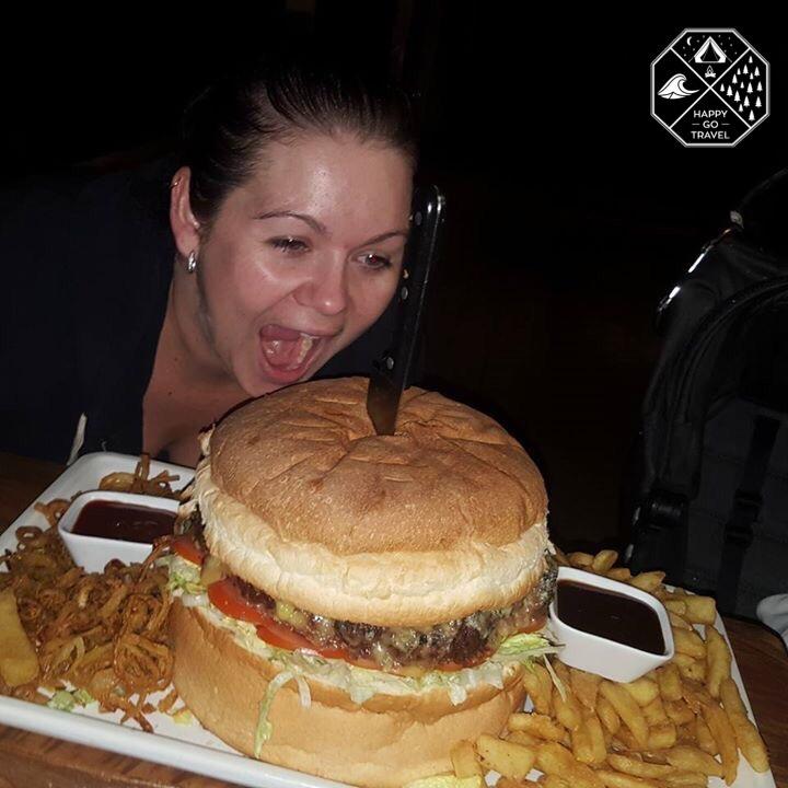 Road train burger at the iconic Nindigully pub | pub food | man vs food