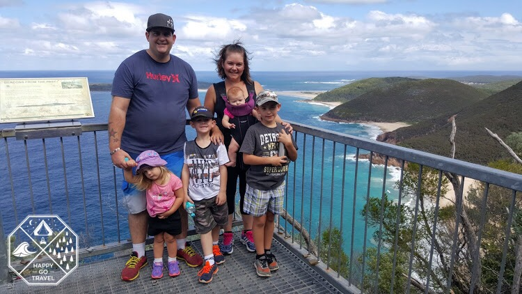 family hiking Mount Tomaree, Port Stephens NSW | Mt Tomaree | view from Mount Tomaree summit