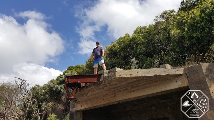 Man standing on top of the gun turret at Tomaree Head | Mount Tomaree, Port Stephens NSW