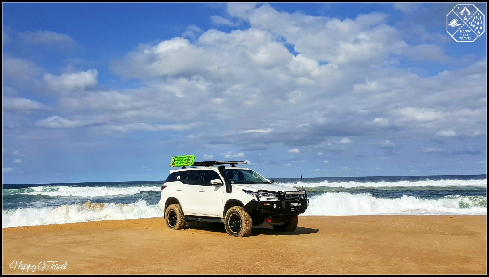 Toyota Fortuner on beach with TRED recovery tracks. Teaching how to 4wd on the beach