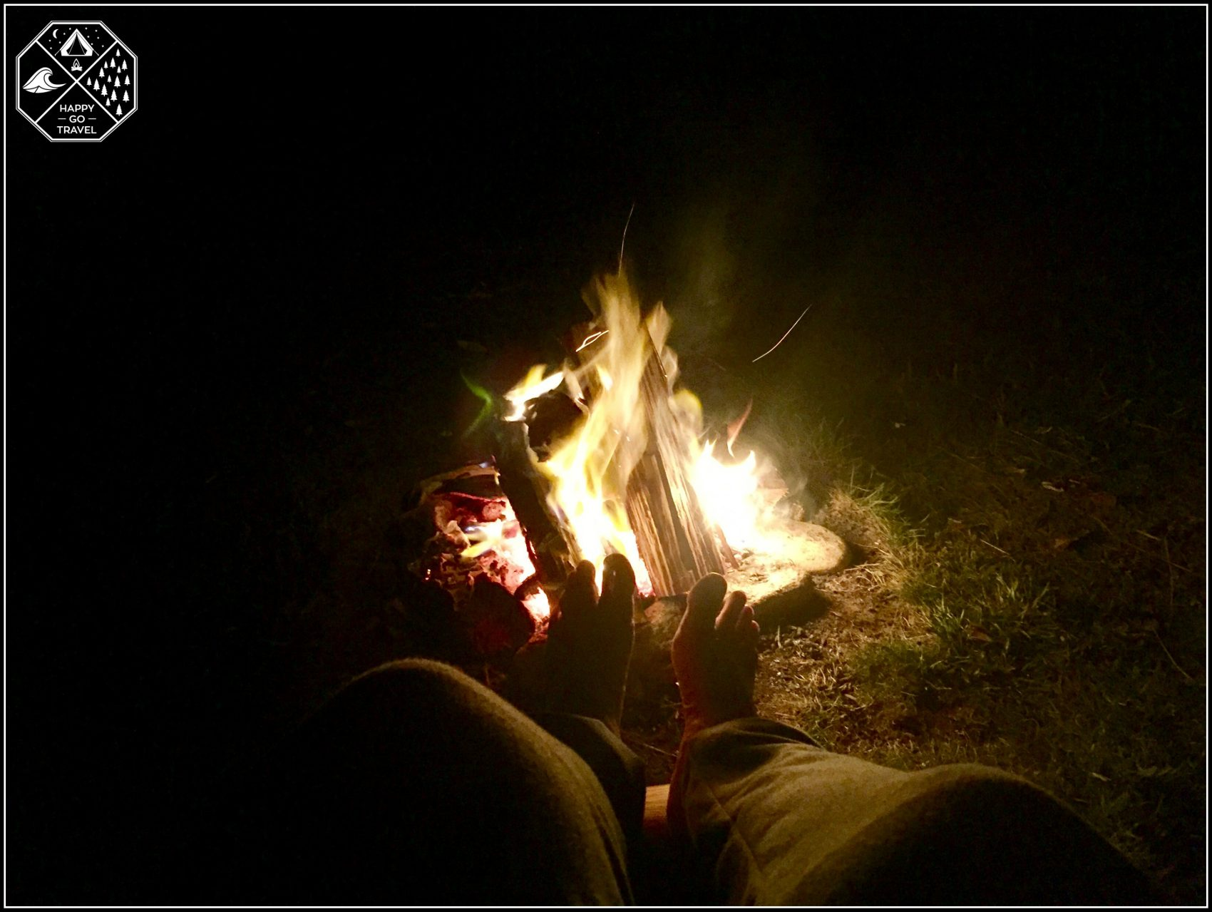 Staying Warm beside the campfire at Ngarigo Campground in the Kosciuszko National Park