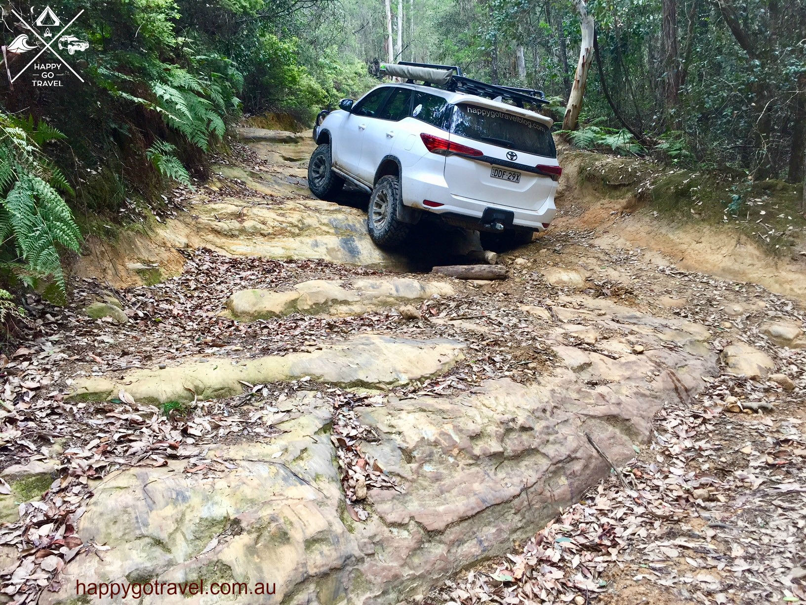 Toyota Fortuner on Farrell's 3 Rock steps , Watagans national park