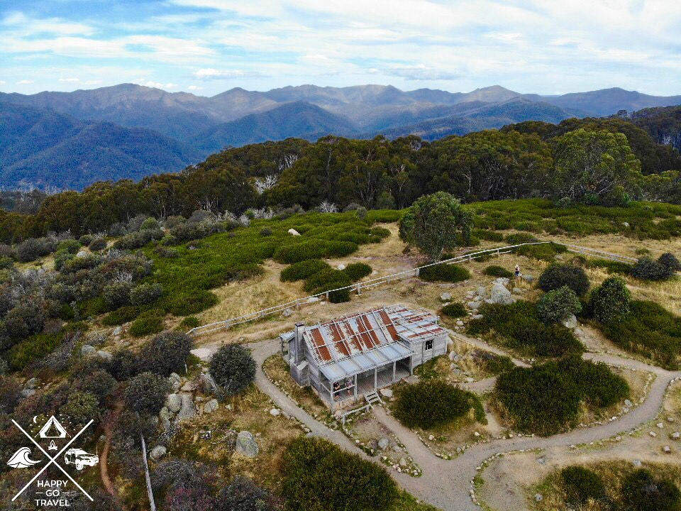 aerial view of Craigs Hut at the Victorian High Country