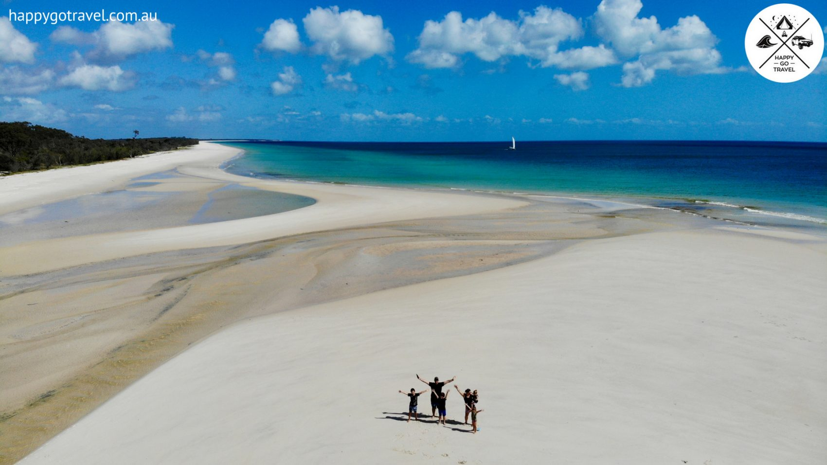 aerial view of Happy Go Travel family on Fraser Island western beach
