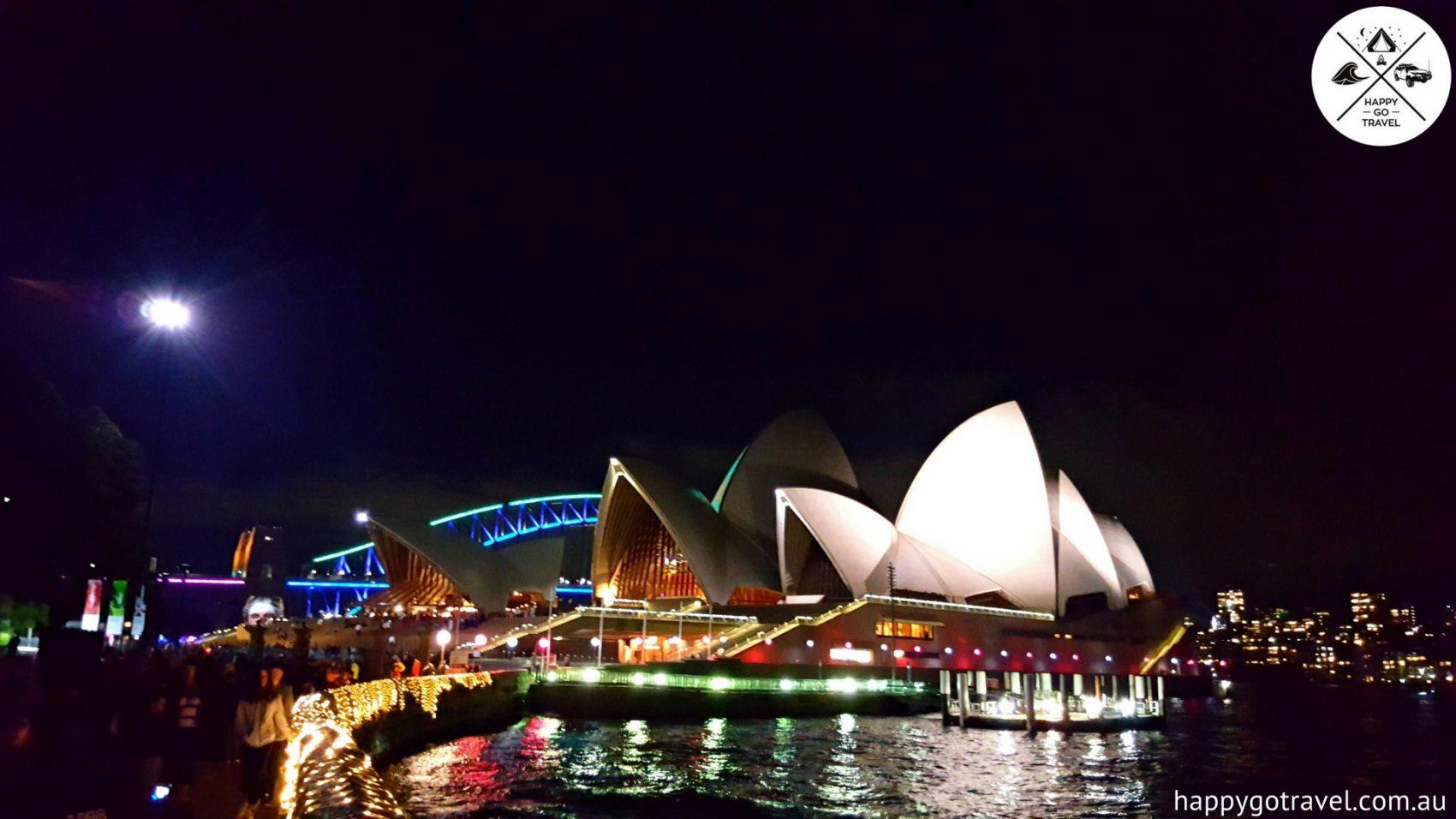 Vivid Sydney Harbour bridge with sydney harbour bridge