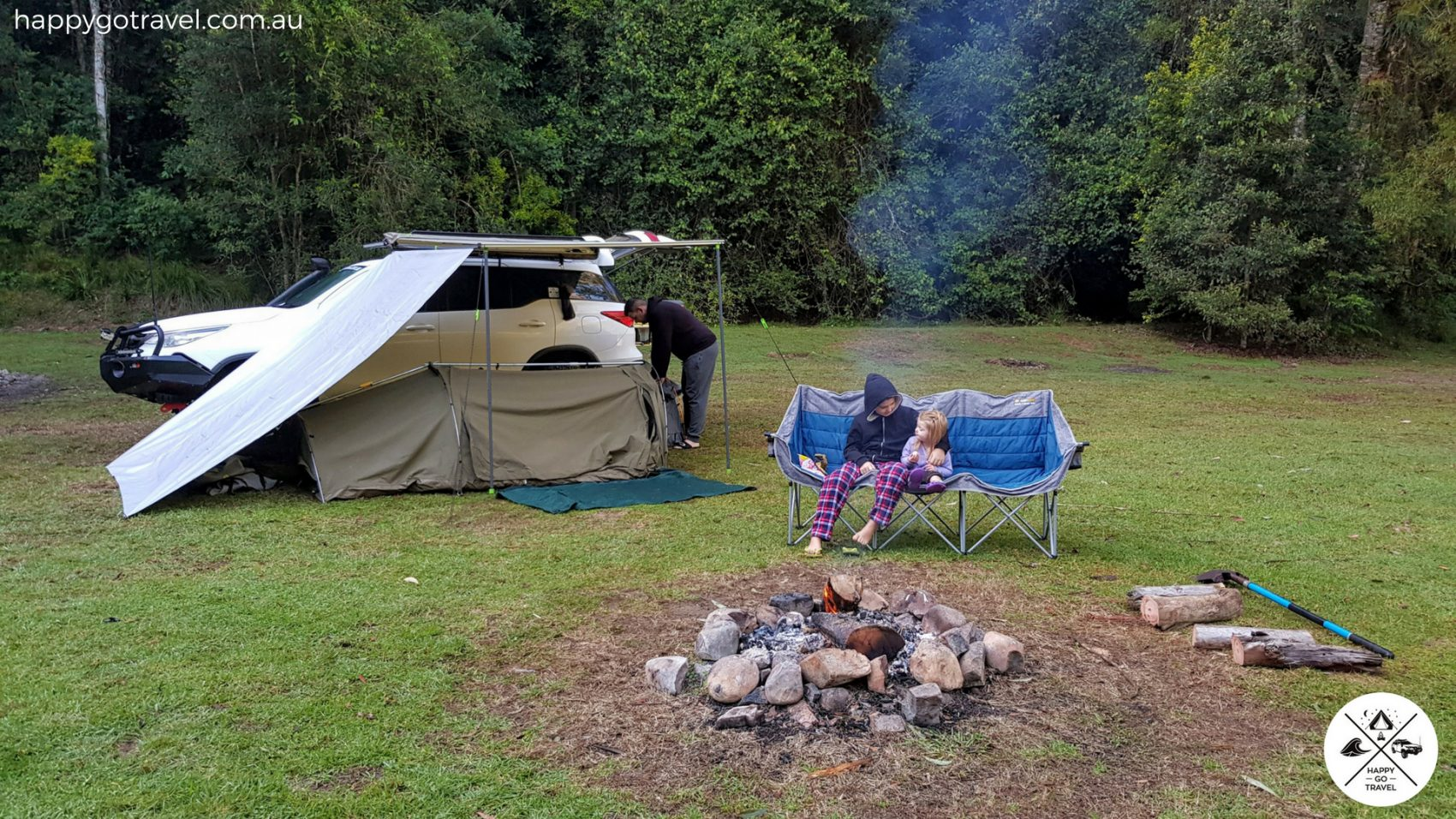 camping at Chichester State Forest with swags
