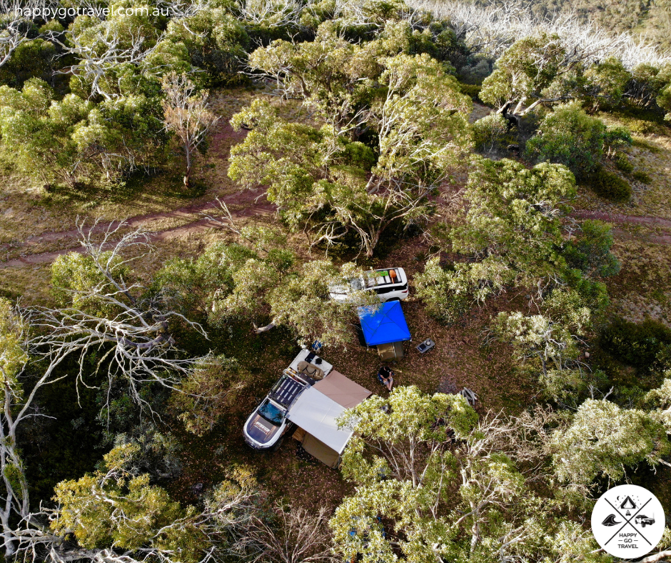 aerial view of 4WD and campground