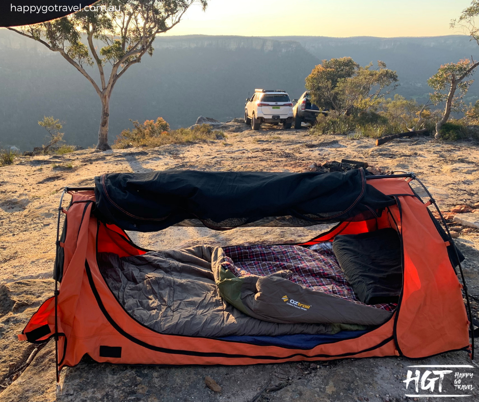 OZtrail Cotton canvas mega hooded sleeping bag review Bag in swag. Newnes state forest